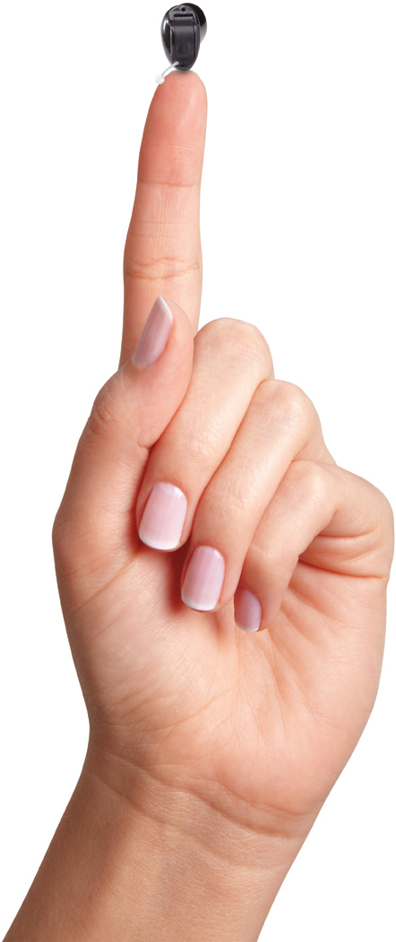 Small Hearing Aid on pointer finger