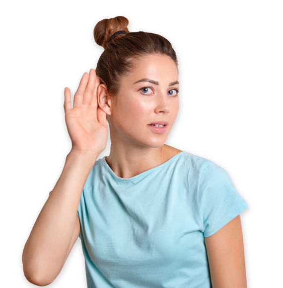 Lady with hand over ear
